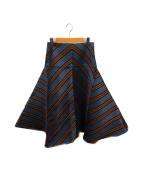 FENDI(フェンディ)の古着「ストライプコットンシルクスカート」|ブルー