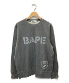 A BATHING APE(エイプ)の古着「BAPEリフレクティブロゴスウェット」|グレー
