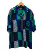 MR.OLIVE(ミスターオリーブ)の古着「カレッジパターンオープンカラーシャツ」|グリーン