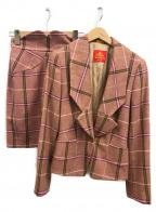 Vivienne Westwood RED LABEL(ヴィヴィアンウエストウッドレッドレーベル)の古着「ウールチェックセットアップスカート」|ピンク