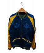 ()の古着「刺繍リバーシブルブルゾン」|ブルー×グリーン