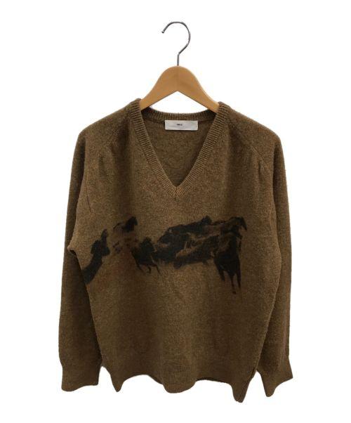 TOGA VIRILIS(トーガ ビリリース)TOGA VIRILIS (トーガ ビリリース) ホースプリントVネックニット ブラウン サイズ:48の古着・服飾アイテム