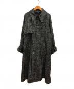 bukht(ブフト)の古着「ツイードトレンチコート」 ブラック