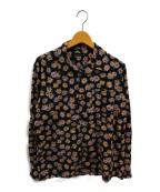 Thee Hysteric XXX(ジィーヒステリックトリプルエックス)の古着「DAISY SKULL柄 オープンカラーシャツ」 ブラック