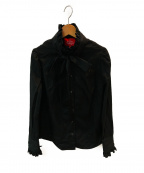 Vivienne Westwood RED LABEL(ヴィヴィアンウエストウッドレッドレーベル)の古着「ブロード フリルカラー タイ付長袖シャツ」|ブラック