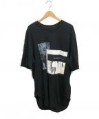 JULIUS(ユリウス)の古着「パッチワークデザインオーバーサイズTシャツ」 ブラック