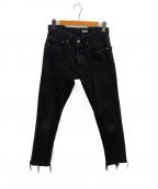 OLD PARK(オールドパーク)の古着「再構築リメイクスリムデニムパンツ」|ブラック
