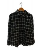 ()の古着「ニードルパンチチェックシャツ」 ブラック