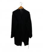YOHJI YAMAMOTO(ヨウジヤマモト)の古着「革紐通しロングカーディガン」|ブラック