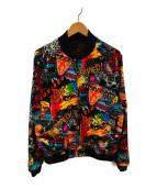 ()の古着「デトロイトドッグ総柄スーベニアジャケット」 ブラック