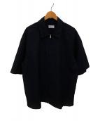 ()の古着「ウールモヘアフルジップS/Sシャツ」|ネイビー