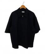 lownn(ローン)の古着「ウールモヘアフルジップS/Sシャツ」|ネイビー