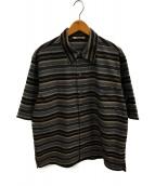 ()の古着「ウールポリエステルボーダーハーフスリーブシャツ」 グレー