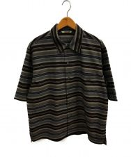 AURALEE (オーラリー) ウールポリエステルボーダーハーフスリーブシャツ グレー サイズ:4 A21SS01MB WOOL POLYESTER BORDER HALF SLEEVED SHIRT