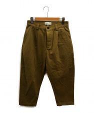 STUDIO NICHOLSON (スタジオニコルソン) シングルプリーツテーパードパンツ カーキ サイズ:M SNM-350 bionda single pleat tapered pants