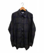 ()の古着「マドラスチェックワークシャツ」|ブラウン×ネイビー