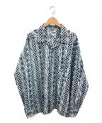 AiE(エーアイイー)の古着「ウエスタンオープンカラーシャツ」 ブルー×ネイビー