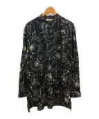 ()の古着「プリントバンドカラーシャツ」|ブラック