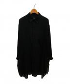 B Yohji Yamamoto(ビーヨウジヤマモト)の古着「ロングシャツラウンドヘム」 ブラック