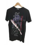()の古着「刺繍マルチロゴプリントTシャツ」 ブラック