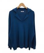 saby(サバイ)の古着「ミラノリブオープンカラーポロシャツ」 ブルー