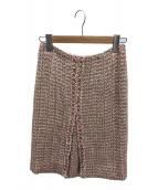 ()の古着「シルク混ツイードスカート」 ピンク
