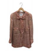 ()の古着「ココマークボタンシルク混ツイードジャケット」 ピンク