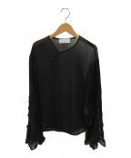 Mame Kurogouchi(マメ クロゴウチ)の古着「シアプリーツフレアスリーブブラウス」|ブラック