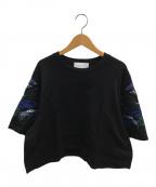Mame Kurogouchi(マメ クロゴウチ)の古着「フラワー刺繍Tシャツ」 ブラック