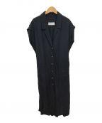 Mame Kurogouchi(マメ クロゴウチ)の古着「リネンシルクドレスワンピース」|ネイビー