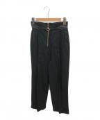 Mame Kurogouchi(マメ クロゴウチ)の古着「ハイウエストチノワイドトラウザーパンツ」|ブラック