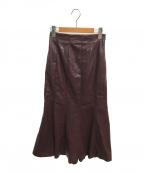 HER LIP TO(ハーリップトゥ)の古着「ビーガンレザーミディスカート」|レッド