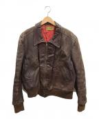 MONTGOMERY WARD(モンゴメリーワード)の古着「40-50'Sヴンテージホースハイドライダースジャケット」|ブラウン