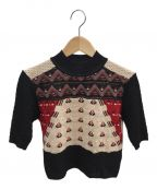 Mame Kurogouchi()の古着「サマーニットクロップドセーター」|ブラック×ベージュ