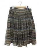 Salvatore Ferragamo(サルヴァトーレ フェラガモ)の古着「シルク混紡総柄スカート」 マルチカラー