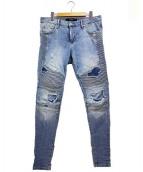 REPRESENT(リプレゼント)の古着「クラッシュ加工バイカーデニム」|ブルー
