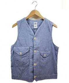POST O'ALLS(ポストオーバーオールズ)の古着「シャンブレーベスト」|ブルー