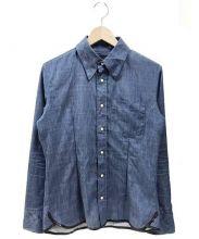 ISAMU KATAYAMA BACKLASH(イサムカタヤマ・バックラッシュ)の古着「シワ加工ストレッチシャツ」 ネイビー