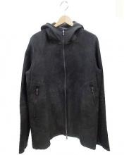 ISAAC SELLAM(アイザックセラム)の古着「フーデットレザージャケット」|ブラック