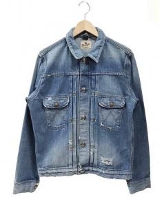 Wrangler×Ron Herman(ラングラー×ロンハーマン)の古着「クラッシュ加工デニムジャケット」|ブルー