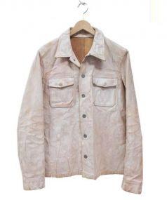 BACK RUSH(バックラッシュ)の古着「白鞣しレザージャケット」|ベージュ×ホワイト