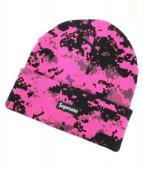 SUPREME(シュプリーム)の古着「ニットキャップ」|ピンク×ブラック