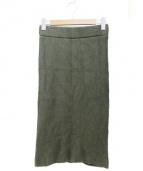 HYKE(ハイク)の古着「ニットミディ丈スカート」|オリーブ