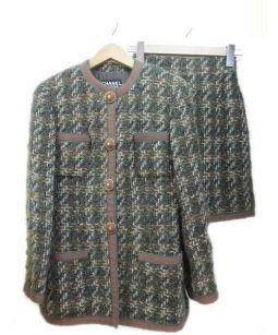 CHANEL(シャネル)の古着「セットアップツイードジャケット」|グリーン