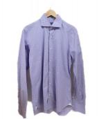 BARBA DANDY LIFE(バルバ ダンディライフ)の古着「ホリゾンタルカラーシャツ」 パープル