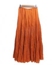 CP Shades(シーピーシェイズ)の古着「リネンマキシスカート」 オレンジ