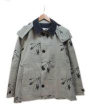 HANCOCK(ハンコック)の古着「総柄ゴム引きコート」|ベージュ