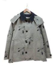 HANCOCK(ハンコック)の古着「総柄ゴム引きコート」 ベージュ