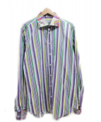 ETRO(エトロ)の古着「ストライプシャツ」|パープル×グリーン