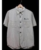 GANGSTERVILLE(ギャングスタービル)の古着「半袖シャツ」|ホワイト×ベージュ